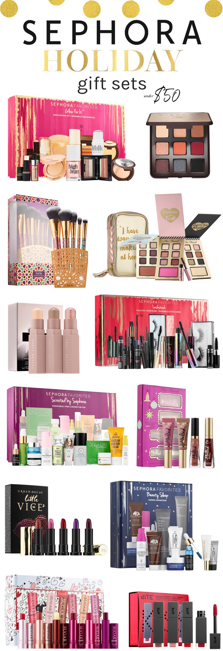 The must-have Sephora holiday 2017 gift sets under $  50 | Click through to see the full list!