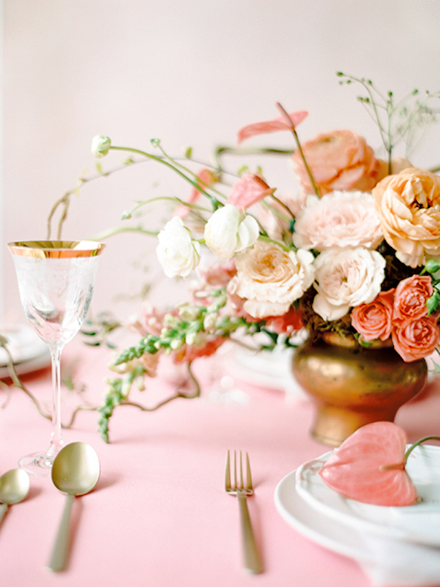 Coral, peach, and pink centerpiece