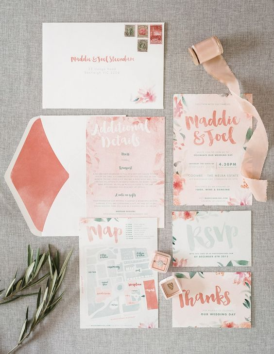 pastel peachy wedding invitation suite with florals and botanicals and bold lining