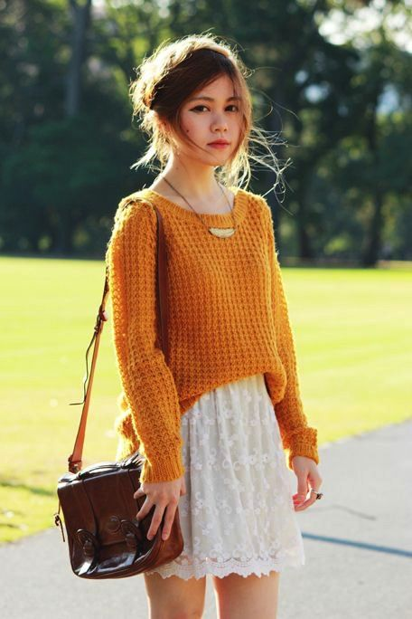 a mustard sweater, a white lace skirt, a vintage brown bag for a cool fall look