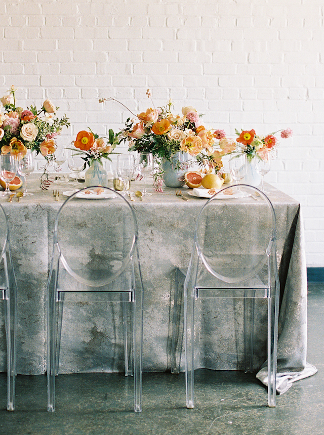 Citrus and poppy centerpieces