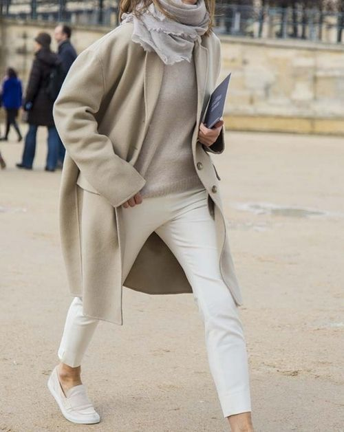 white denim, a neutral sweater, a neutral scarf and coat, white flats