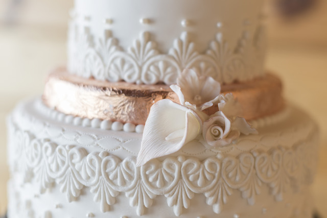 Copper wedding cake detail
