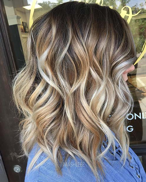 Blonde Wavy Lob for Lob Hairstyles for Fall and Winter