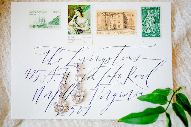 Calligraphy envelope with vintage stamps