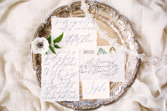 Classic calligraphy wedding invitations
