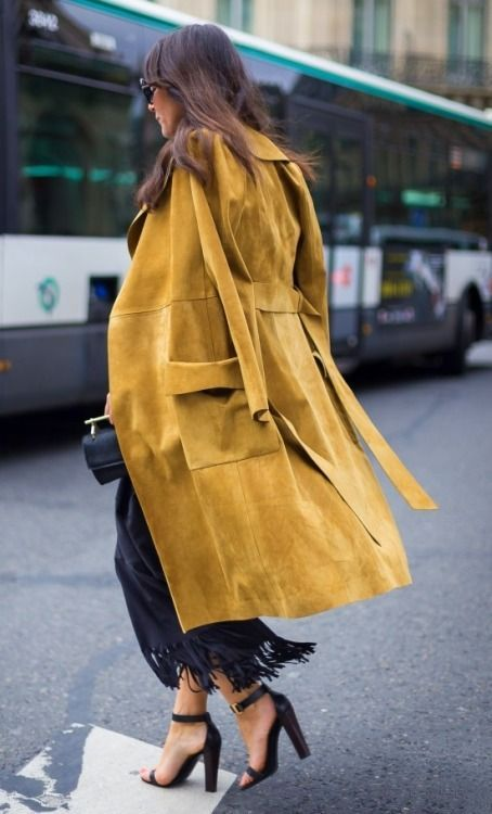 a suede mustard coat will add your look a colorful fall touch
