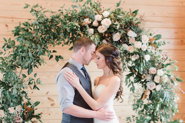 Flower wreath wedding ceremony