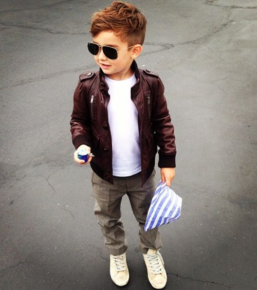 grey pants, a white tee, a burgundy leather jacket and white sneakers for a wow look