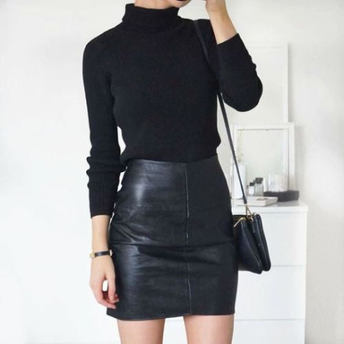 a black turtleneck, a black leather mini skirt and a bag for a sexy look