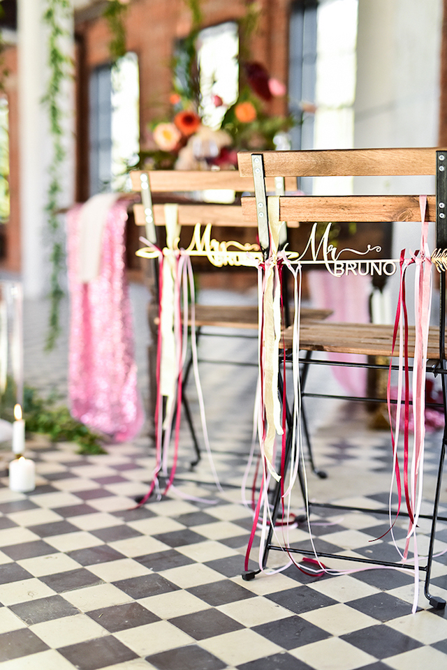 Ribbons on reception chairs