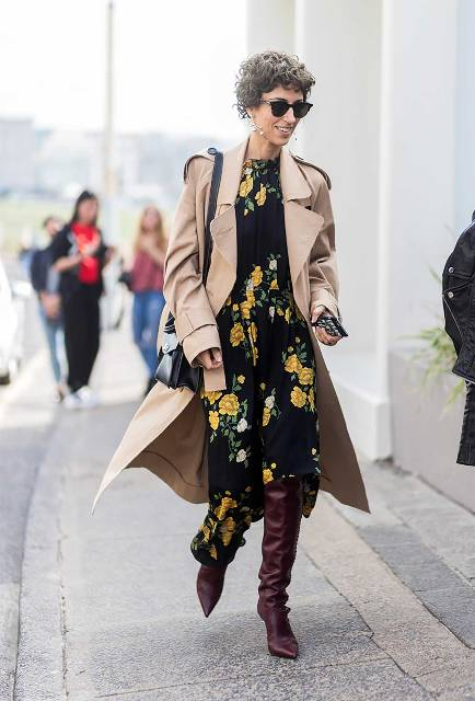 With floral midi dress, camel coat and black bag