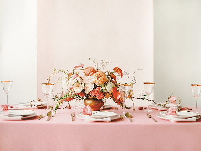 Coral, peach, and pink wedding colors