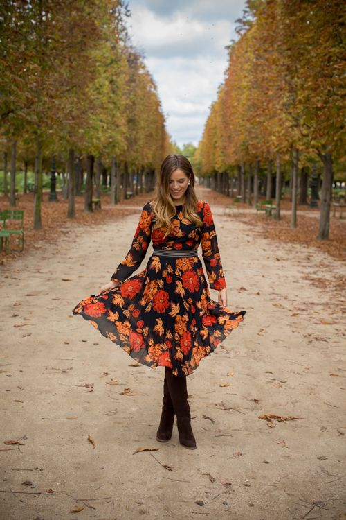 a fall-colored floral dress with long sleeves and brown suede tall boots - nothign else is needed