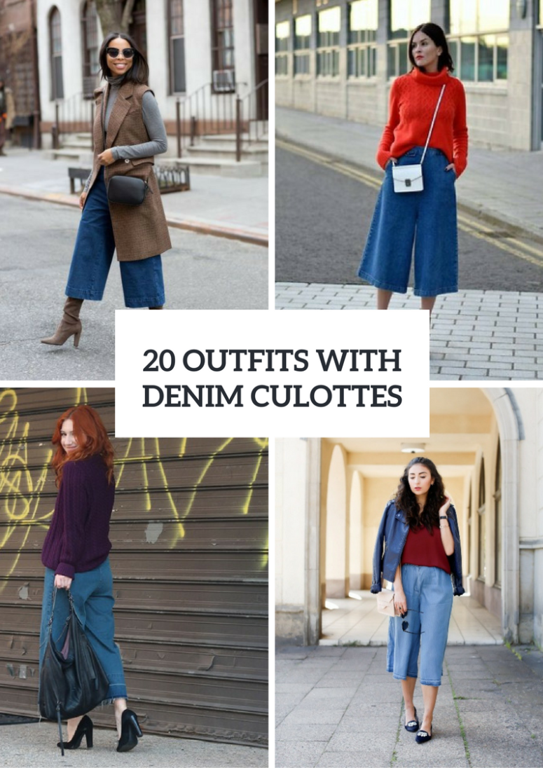 Fall Outfits With Denim Culottes To Repeat