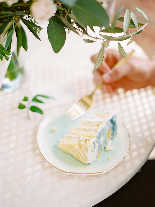 Layered wedding cake slice