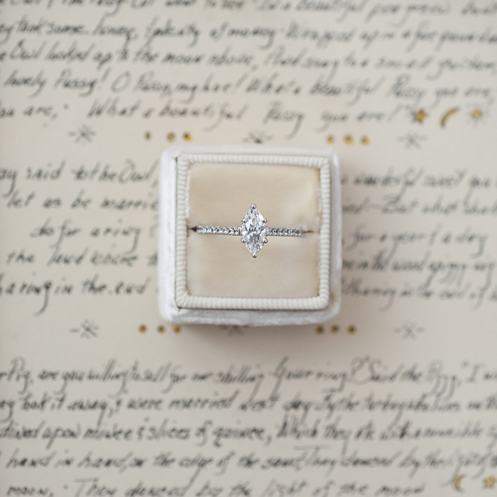 Marquise pave diamond cluster engagement ring from MARS Jewelry