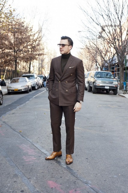 With brown suit and light brown shoes