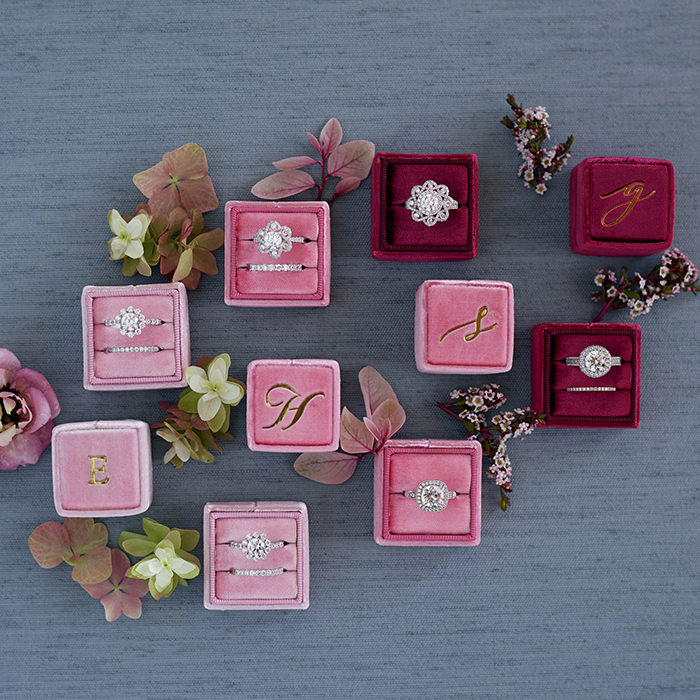 Velvet ring boxes with vintage style gems from MARS Jewelry