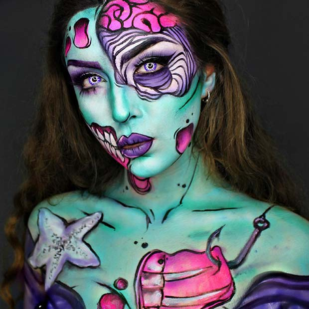 Pop Art Mermaid for Mind-Blowing Halloween Makeup Looks