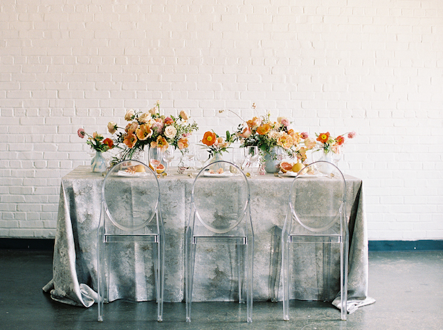 Citrus and poppy centerpiece