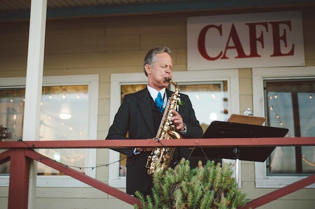 Sax player at wedding