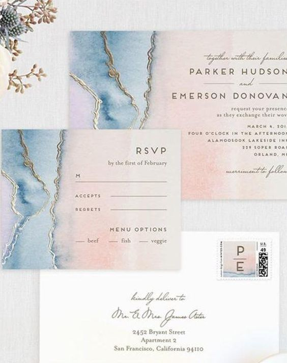 pink and blue invitations with a marble print and gold leaf decor is a very chic and elegant idea