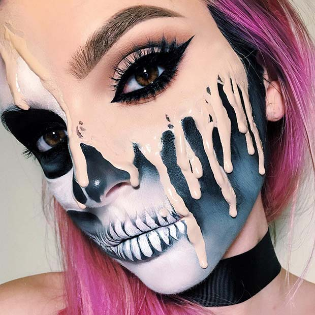 Melting Skeleton Makeup for Mind-Blowing Halloween Makeup Looks