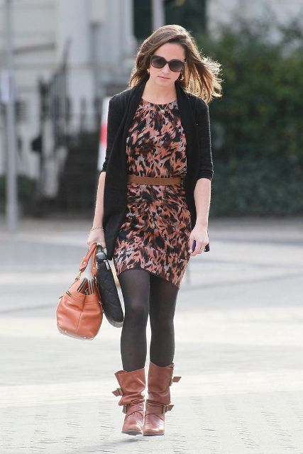 With printed mini dress, black jacket and brown bag