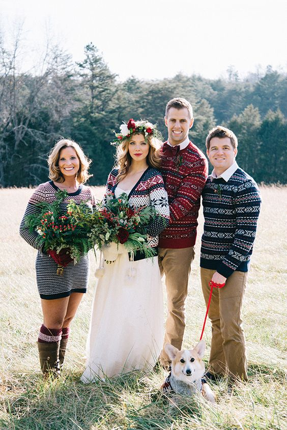 traditional Scandinavian sweaters for the couple and a groomsmen and a bridesmaid