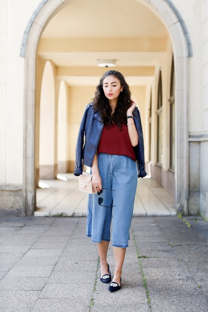 With marsala shirt, blue jacket, flats and beige bag