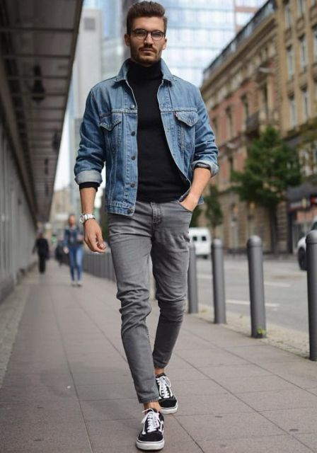 With denim jacket, gray skinny pants and white and black sneakers