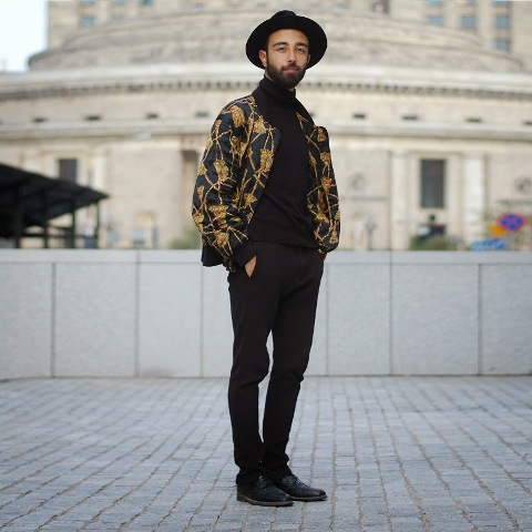 With printed jacket, wide brim hat, trousers and shoes