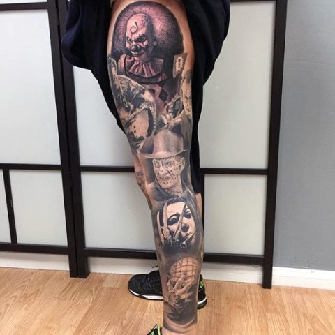 Scary movies characters tattoos on the leg