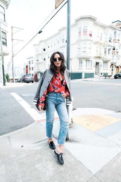 With floral blouse, crop jeans and black shoes