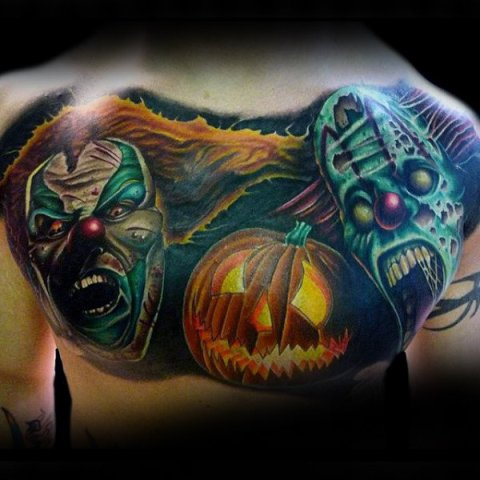 Scary clowns and pumpkin tattoo on the back