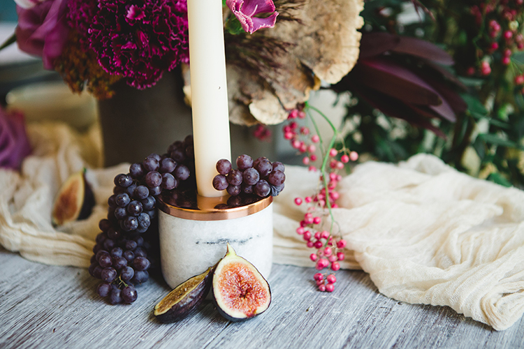 marble and copper wedding inspiration for fall - http://ruffledblog.com/fall-wedding-tablescape-with-an-unexpected-color-palette