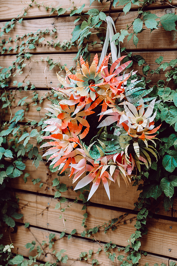 DIY Plastic Bottle Flower Wreath + Table Runner