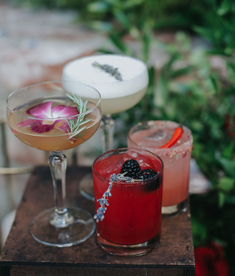 The groom wanted the bar to be an experience and there were cocktails and mixes created especially for the wedding