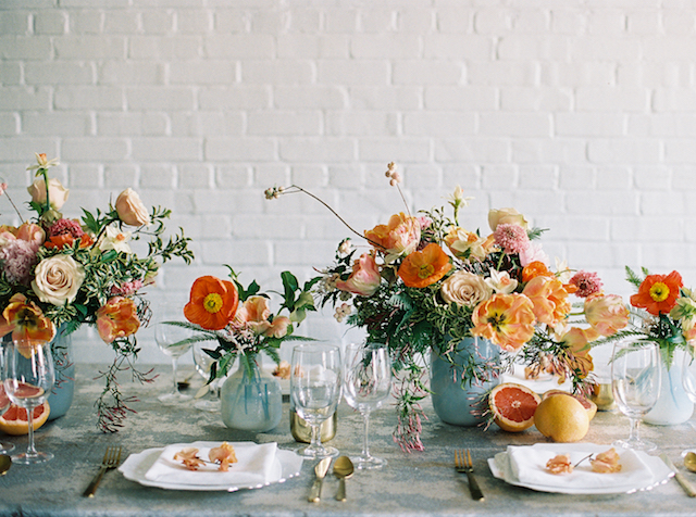 Orange poppy centerpiece