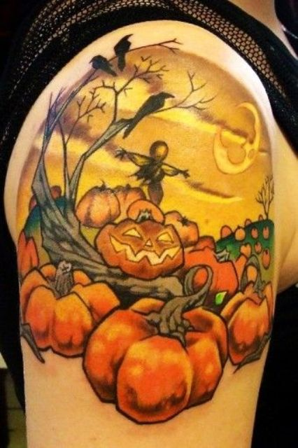 Half-sleeve pumpkin, birds and bogey tattoo