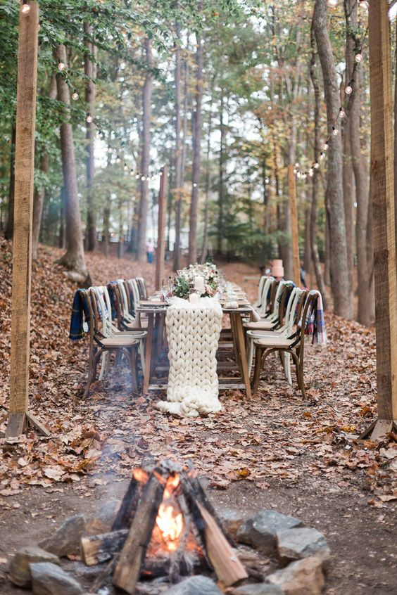 a chunky knit white wedding table runner will help you to embrace the season