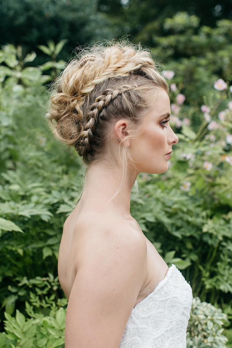braided wedding updos - https://ruffledblog.com/woodland-luxe-wedding-inspiration-with-fall-colors