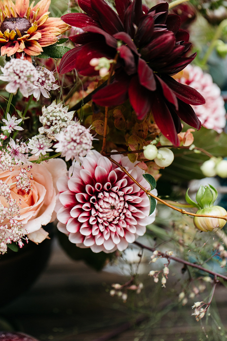 dahlia wedding flowers - https://ruffledblog.com/woodland-luxe-wedding-inspiration-with-fall-colors