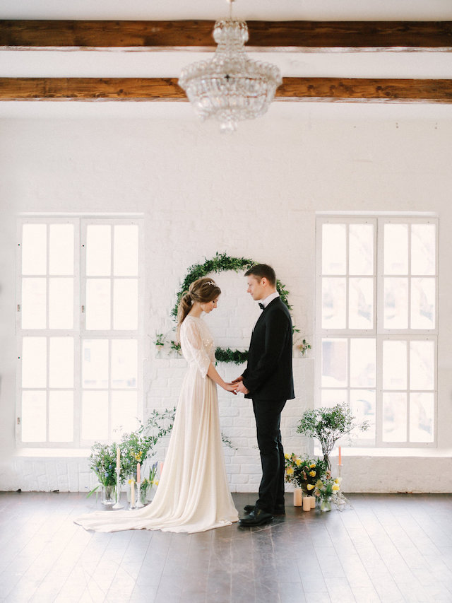 Spring loft wedding ceremony