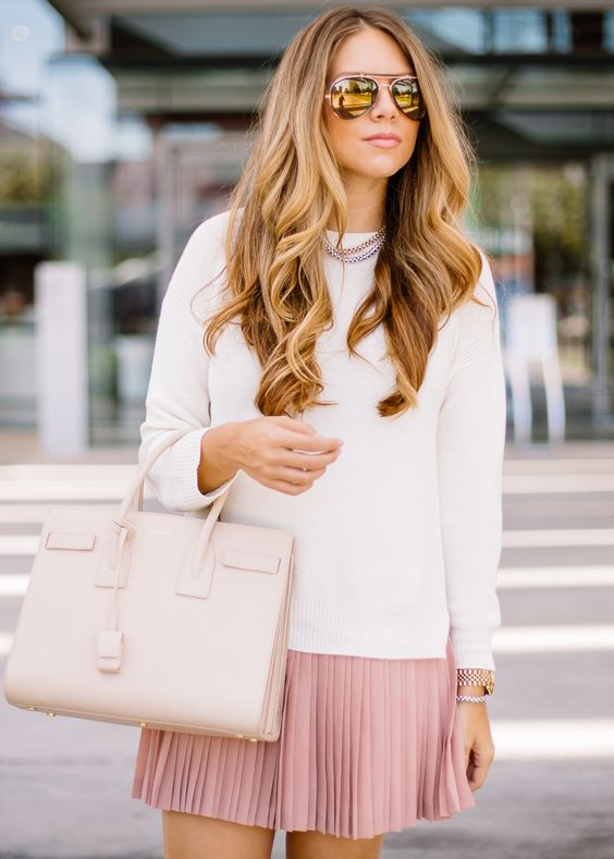 a white top, a pink pleated mini skirt, a blush bag for a girlish look