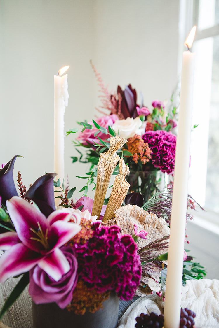 fuchsia wedding flowers - http://ruffledblog.com/fall-wedding-tablescape-with-an-unexpected-color-palette