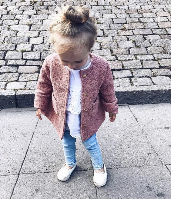 blue denim, a white lace shirt, a pink coat and white flats