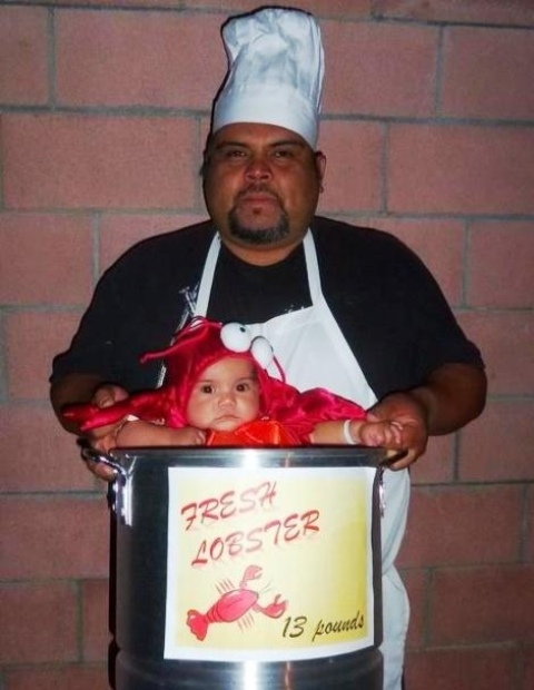 Halloween chef costume idea and lobster costume for baby