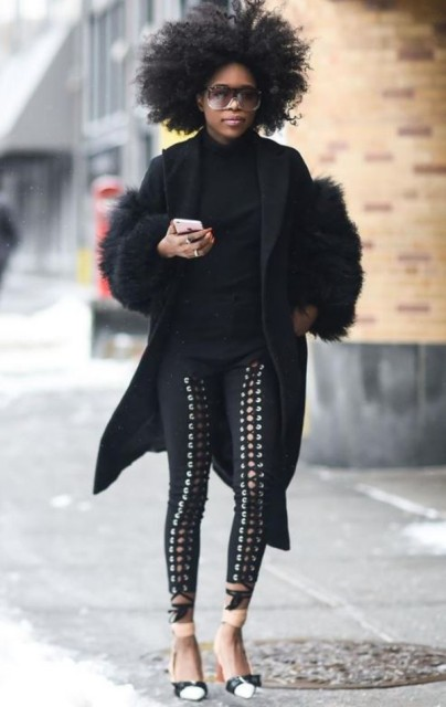With black turtleneck, fur coat and two color shoes